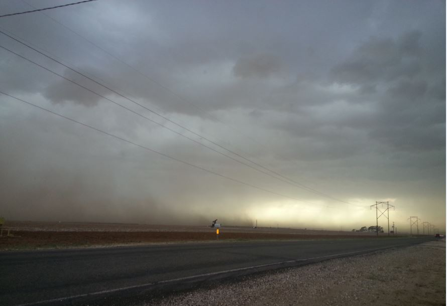 The storms on 21 May 2014 produced strong downburst winds, as visualized by this picture of blowing dust. The picture was taken west of Ropesville by Erin Shaw.