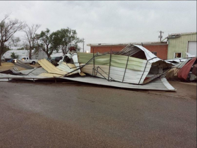 Damage caused by strong downburst winds in Tulia on 21 May 2014. The picture is courtesy of Chad Miller.