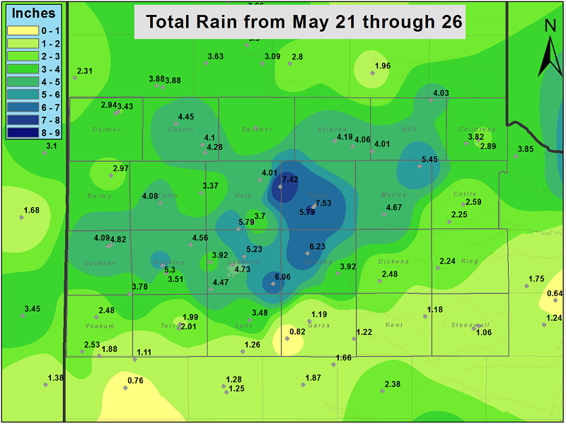 Weather station rainfall totals ending the morning of Tuesday, 27 May 2014.