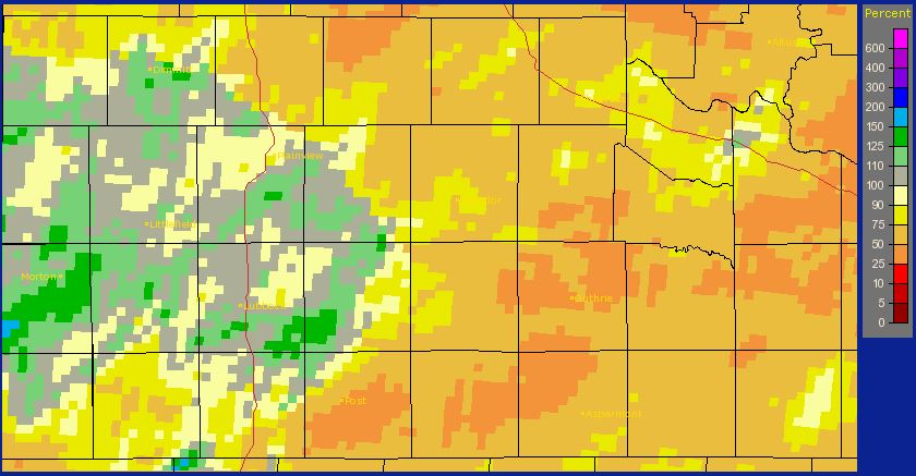 Radar-estimated year to date rainfall, as a percent of normal, ending on 26 May 2014.