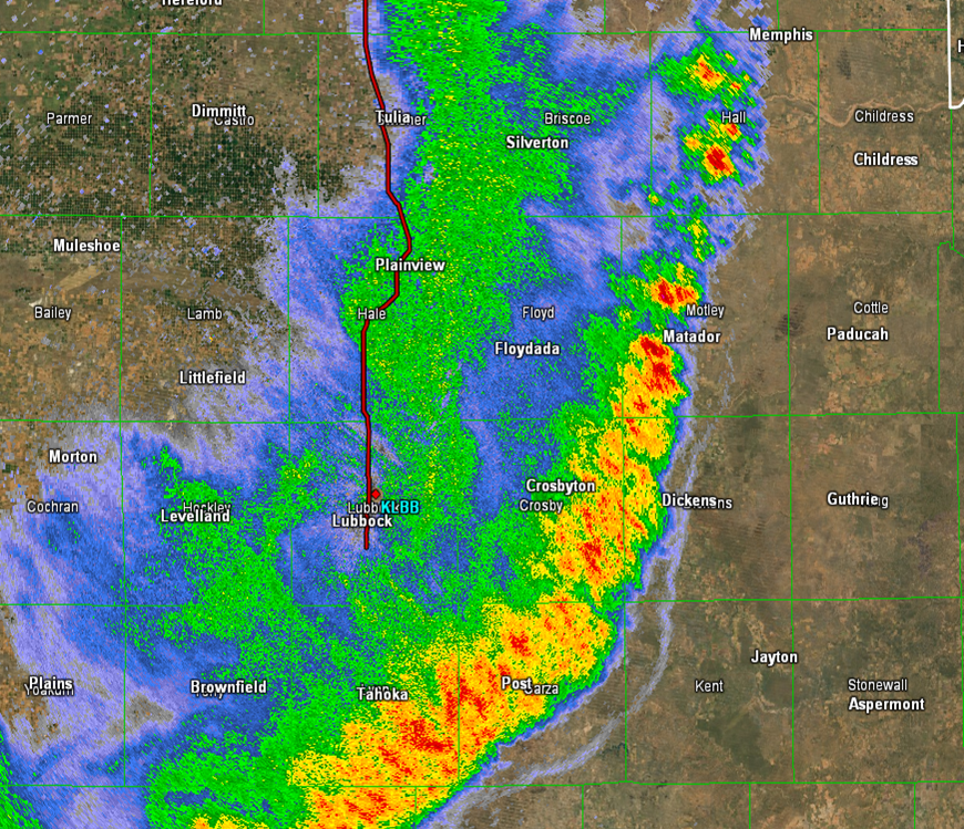 Close up radar image captured from the Lubbock radar around 11 pm on 13 June 2014.