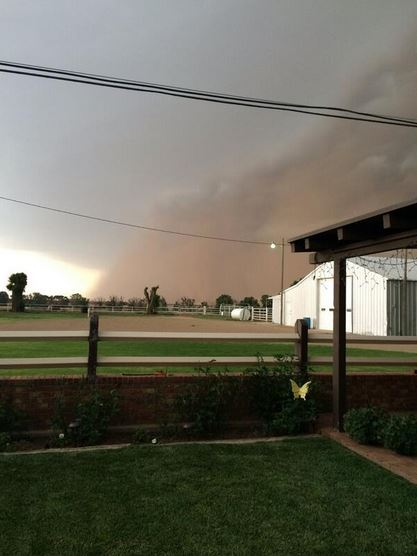 Picture of the advancing squall line and leading wall of dust in Parmer County on the evening of Friday, 13 June 2014. The picture is courtesy of Jon Douglas.