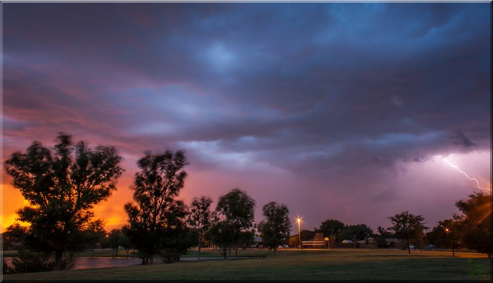View of a thunderstorm as it approached Lubbock on the evening of Thursday, 19 June 2014. The picture was taken by Erin Shaw.