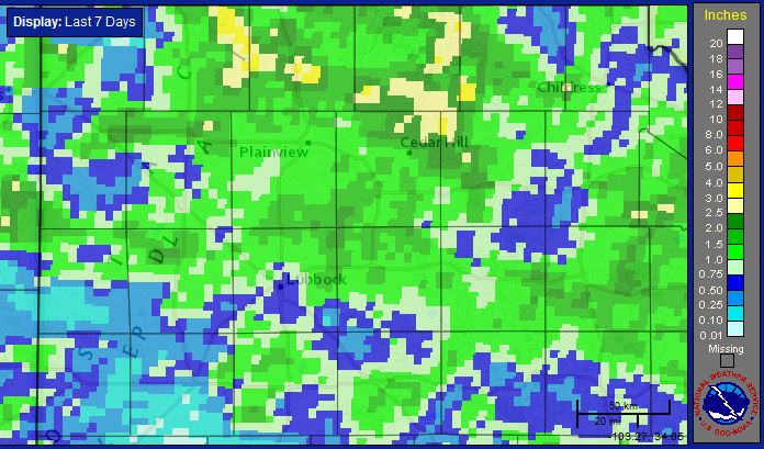 Seven-day radar estimated precipitation ending at 3 am on 25 June 2014.
