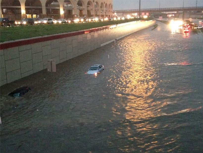 Flooding of Marsha Sharp Freeway near University Avenue in Lubbock on the evening of Wednesday, September 24th. The image is courtesy of KCBD.
