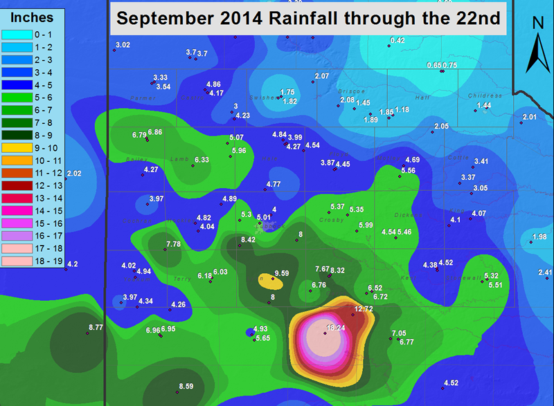 Rainfall totals from September 1st through 22nd.
