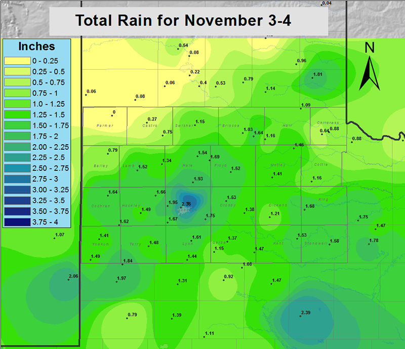 Total rainfall map for the area