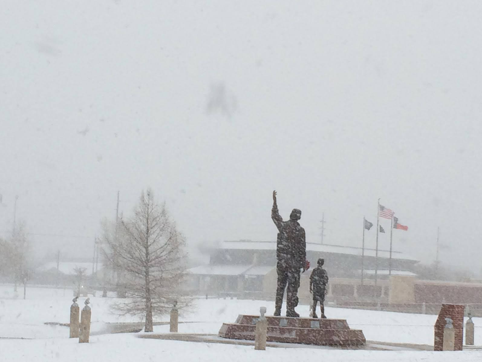 Snow falling at Henry Huneke Park in south Lubbock on the morning of December 27th