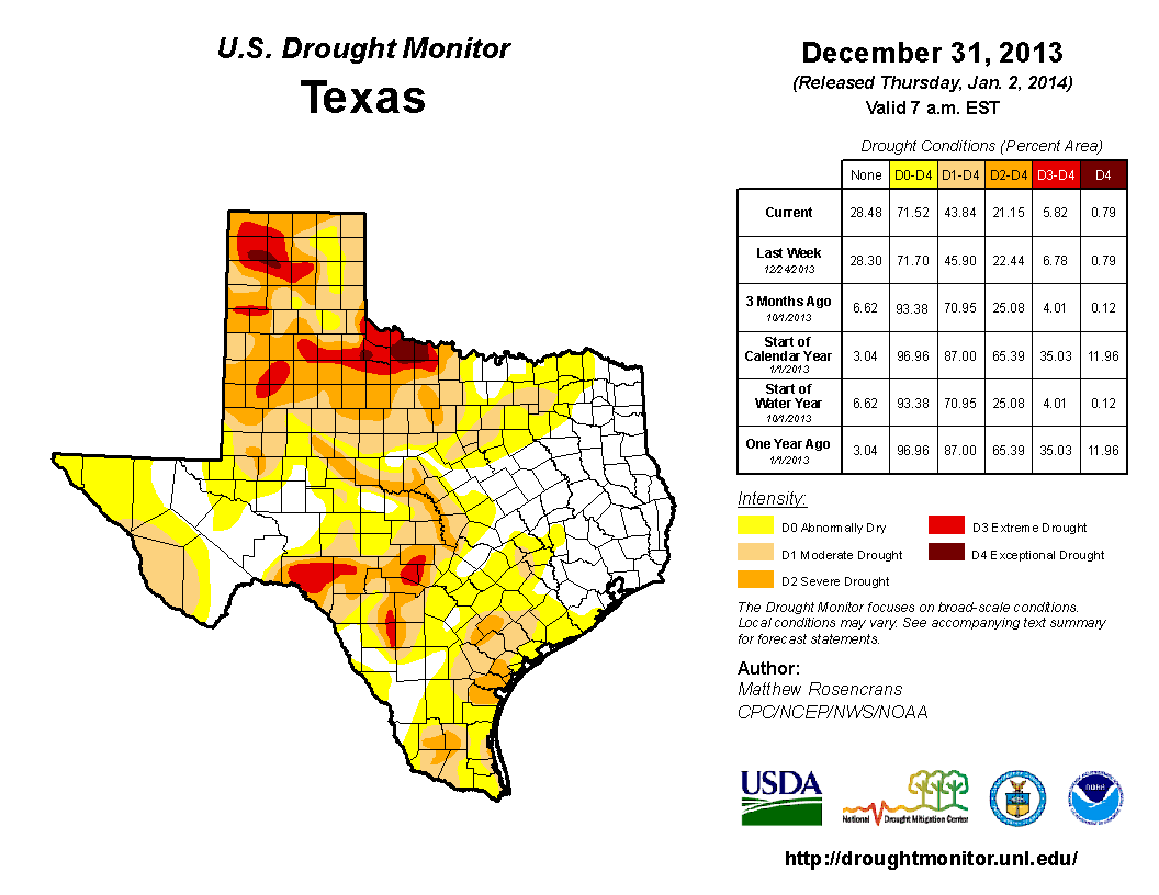 2013 December 31st State of Texas Drought Conditions