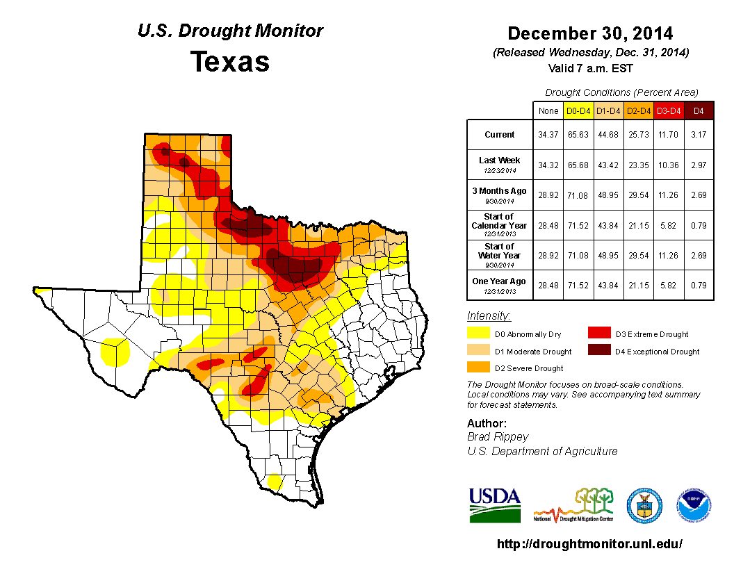 2014 December 30th State of Texas Drought Conditions