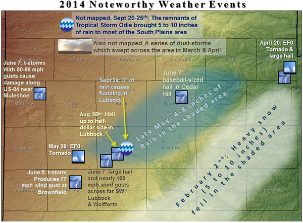 map with significant weather events from 2014