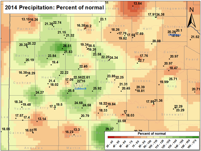 2014 precipitation as a percentage of normal