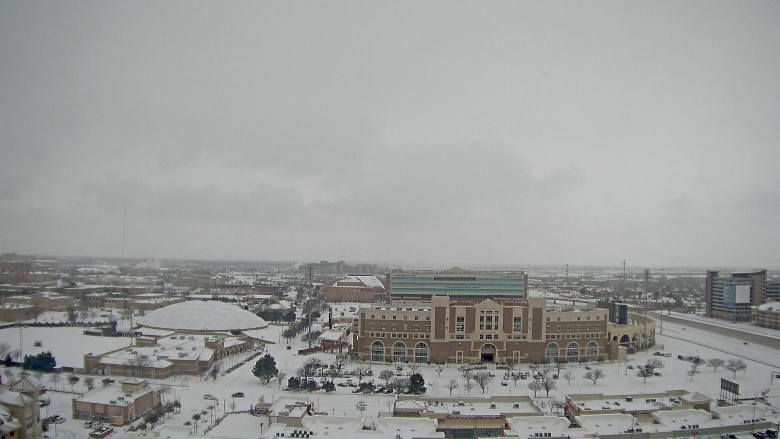 The north side of the Texas Tech campus around 10 am on February 27, 2015. The image is courtesy of KAMC.