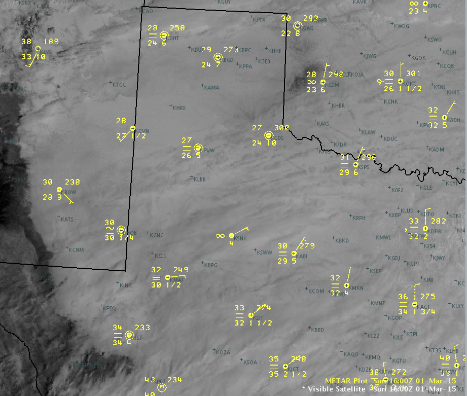A visible satellite image of the West Texas region from 11 am on Sunday, March 1st. The top number represents the temperature and the bottom number is the dewpoint. The horizontal lines indicate fog at the observation site. Click on the image to enlarge.