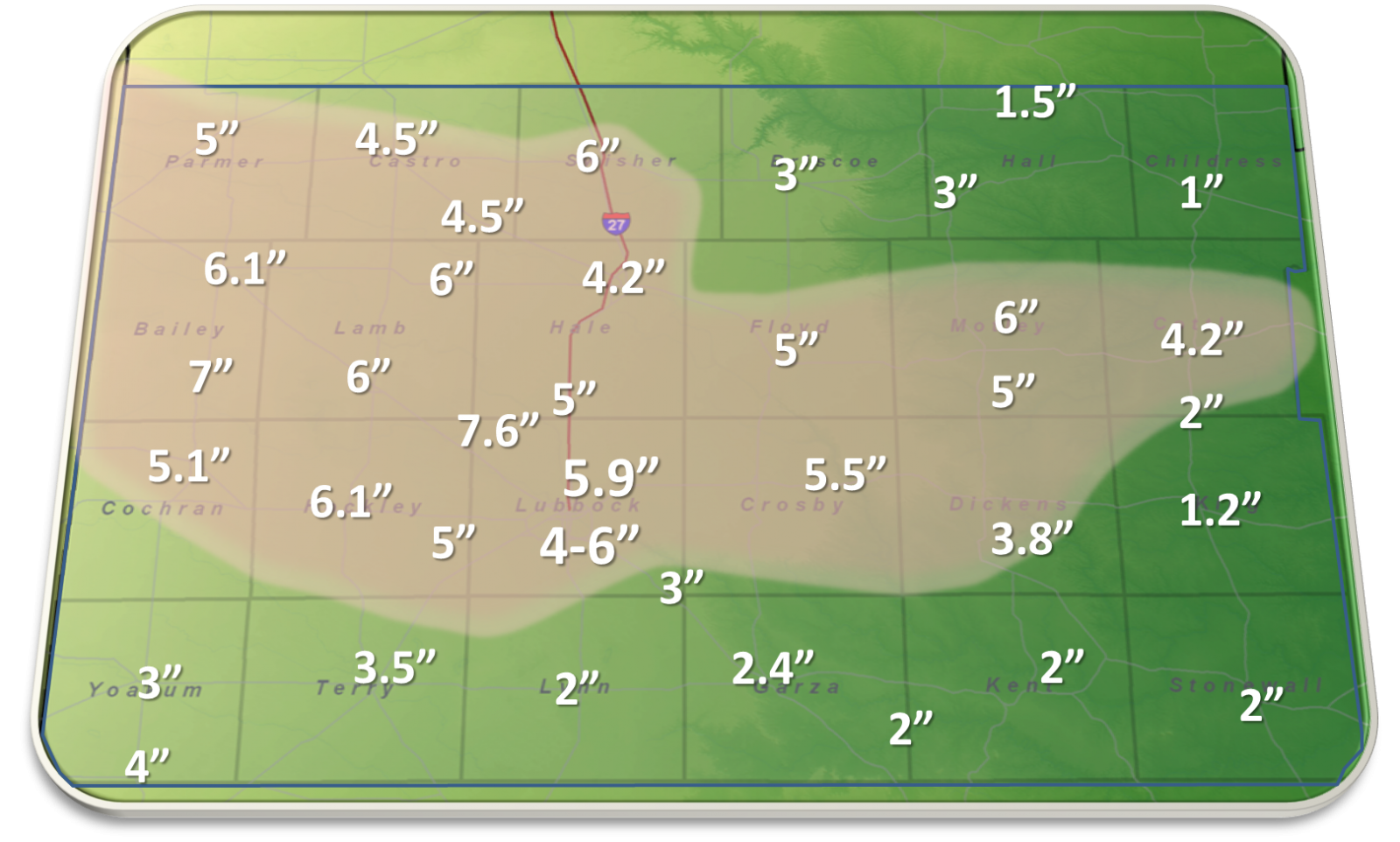 Snowfall totals for Feb 26-28 as reported to our office.