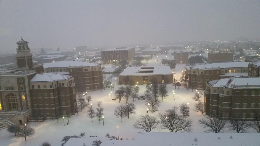 The Texas Tech campus around 5 am on February 27, 2015. The image is courtesy of Sam Nettleton.