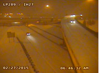 Interstate-27 and Loop 289 in south Lubbock at 6:46 am on February 27, 2015. The image is courtesy of TXDOT.