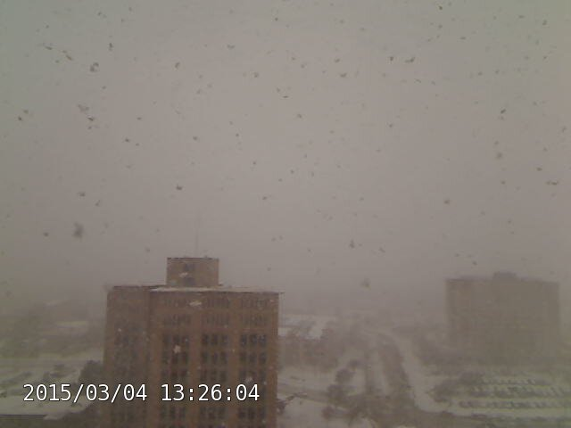 Large flakes of heavy snow falling on the Texas Tech campus at 1:26 pm on March 4, 2015.