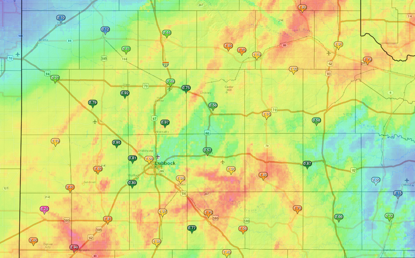 Rainfall totals for the South Plains area from April 11 to April 13, 2015