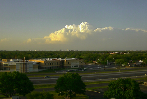 View of the storm over Floyd County, as seen from south Lubbock, at 7:49 pm on April 22, 2015.