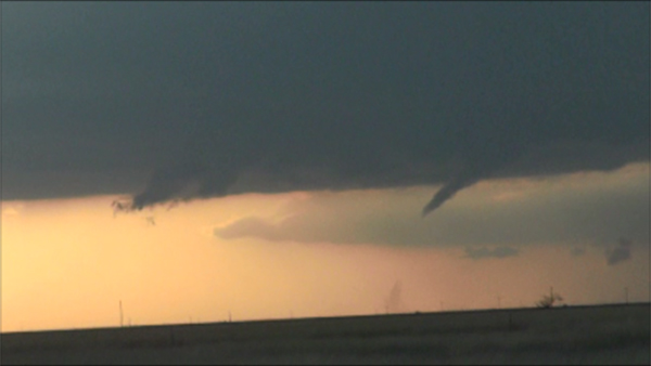 Image captured by Roger Hill near Lockney, TX, Wednesday evening. The picture shows a brief tornado touchdown.