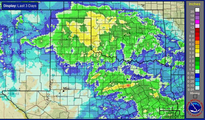 Radar-estimated, bias-corrected 3-day rainfall ending at 4 pm on Tuesday, April 28, 2015. Click on the map for a close up view of the South Plains and Rolling Plains region.