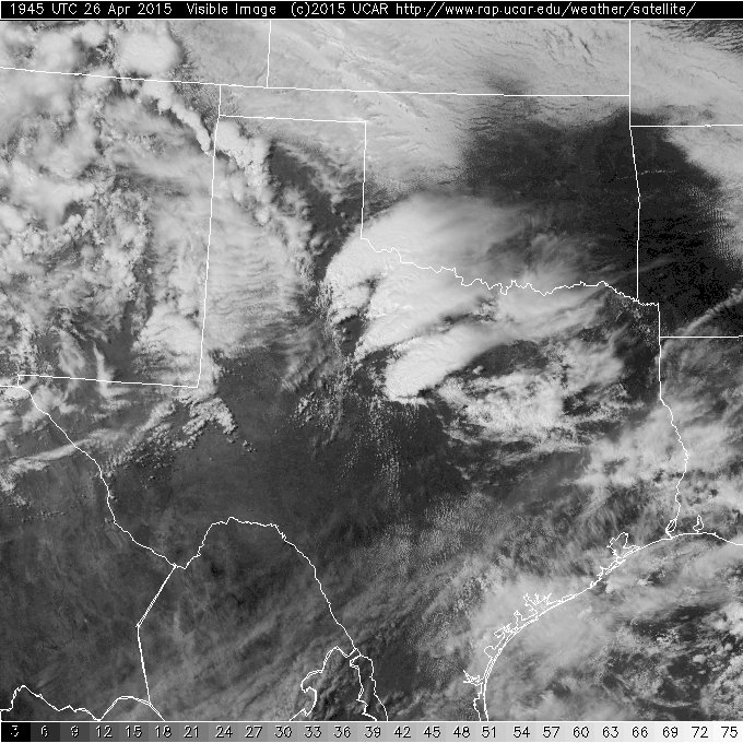 Visible satellite image captured at 2:45 pm on April 26th.
