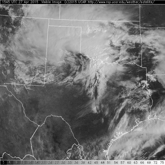 Visible satellite image captured at 10:45 am on April 27th.