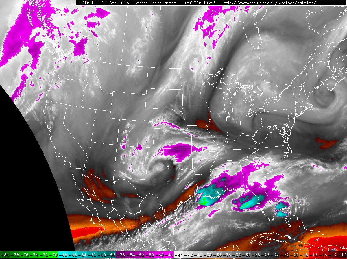 Water vapor satellite image captured at 6:15 pm on April 27th.