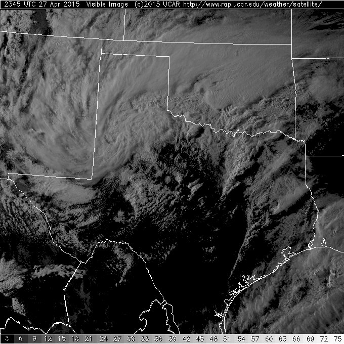Visible satellite image captured at 6:15 pm on April 27th.