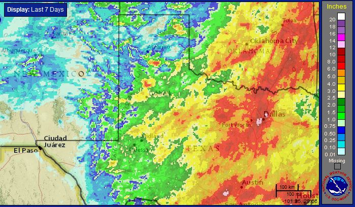 Radar-estimated and bias-corrected 7-day rain total ending at 4 pm on Saturday, 30 May 2015. A close up of the South Plains region can be viewed by clicking on the map.
