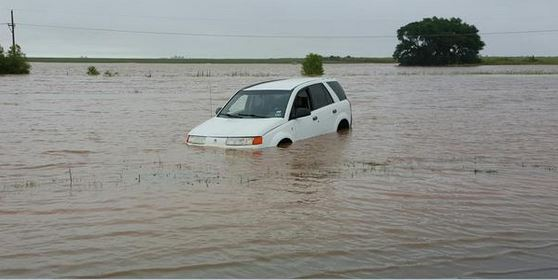 A car that flooded out east of Idalou on Highway 82. The picture is courtesy of Brandon Sullivan.