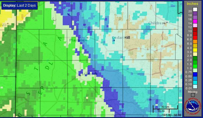 Two-day radar-estimated and bias-corrected rain totals ending at 2 pm on Friday, 9 October 2015