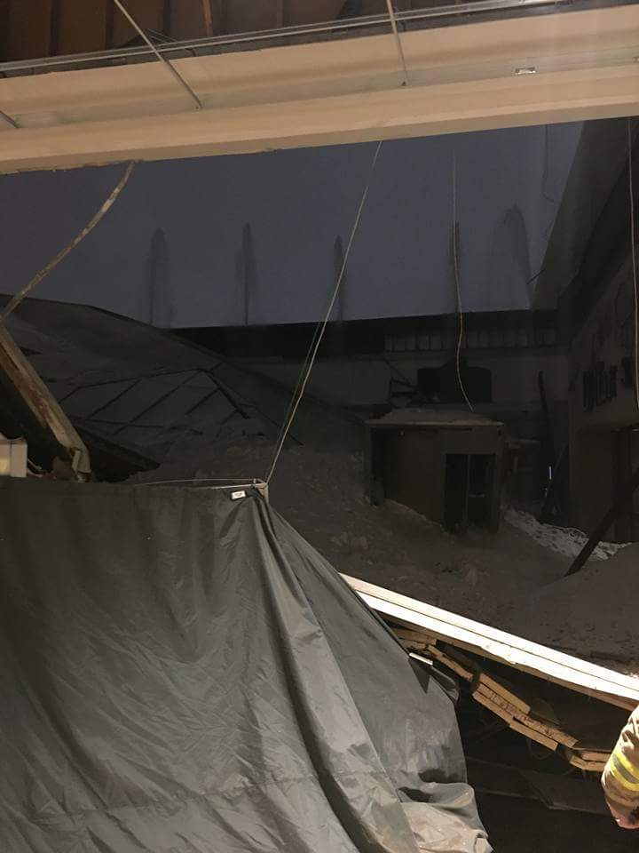 Roof collapse at the South Plains Mall (courtesy of FOX 34)