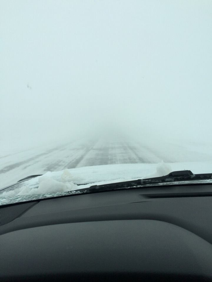 Blizzard conditions west of Smyer on Highway 114 on the 27th of December (courtesy of KCBD).