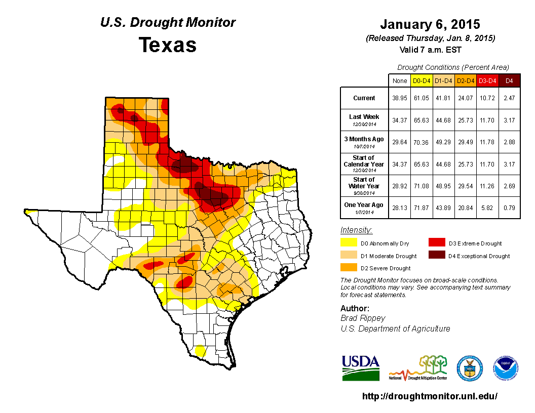 2015 January 6th State of Texas Drought Conditions