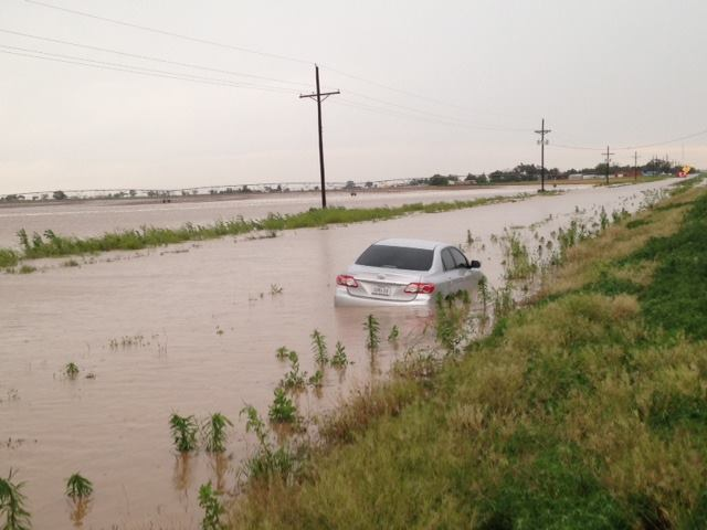 Flooded car south of Shallowater on May 28, 2015.