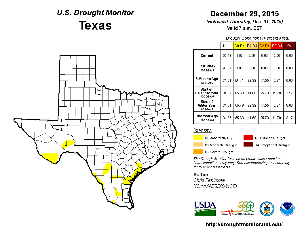 2015 December 8th State of Texas Drought Conditions