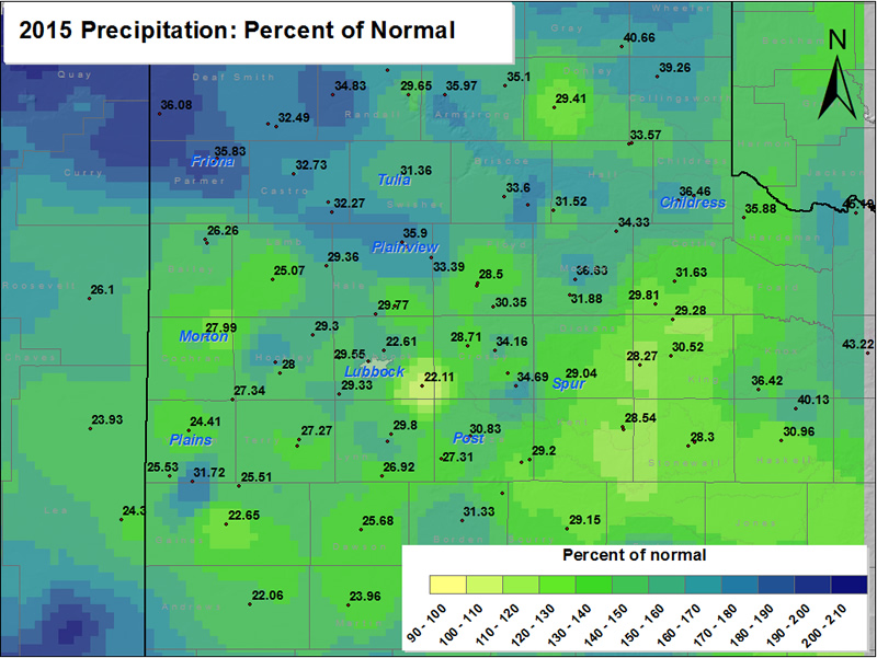 2015 precipitation as a percentage of normal