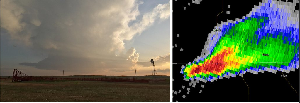 Picture and radar depiction of a low-precipitation (LP) supercell storm near Spur during the evening of 10 April 2016. The picture is courtesy of Bruce Haynie. Click on the image for a larger view of the photograph.