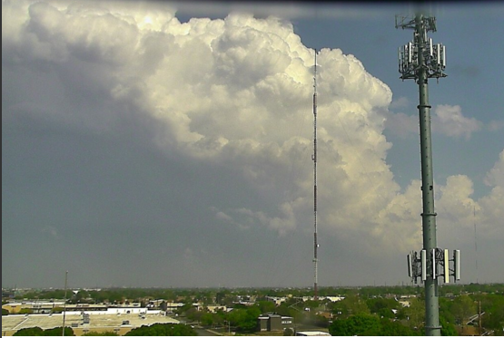 Storm, as viewed from Lubbock, when it was located northeast of Slaton around 4:30 pm on 10 April 2016.