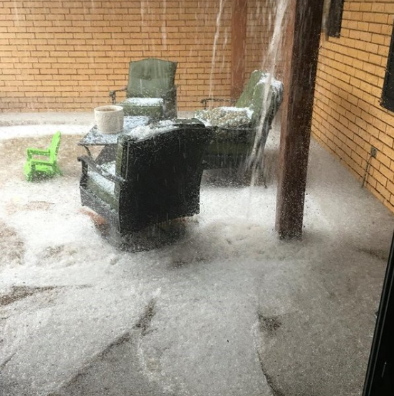 Copious amounts of small hail that fell in Levelland on Tuesday, 19 April 2016. The images are courtesy of KCBD.