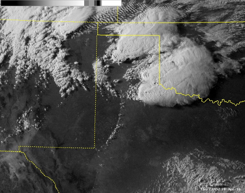 Visible satellite image of storms developing