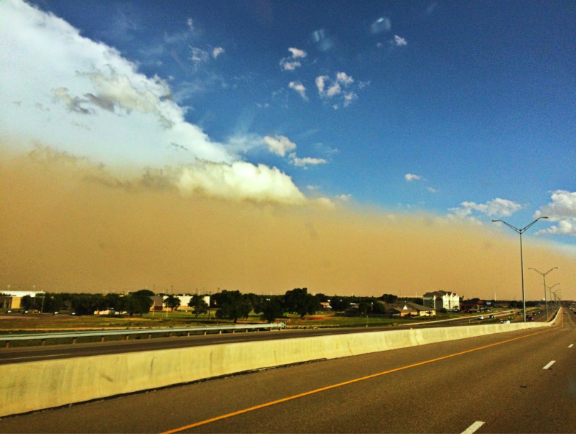 Gusty thunderstorm outflow winds lofted plenty of dust as it pushed northwestward through Lubbock Sunday evening (22 May 2016). This image (courtesy of Jennifer Kimberly) is what it looked like at ground level.