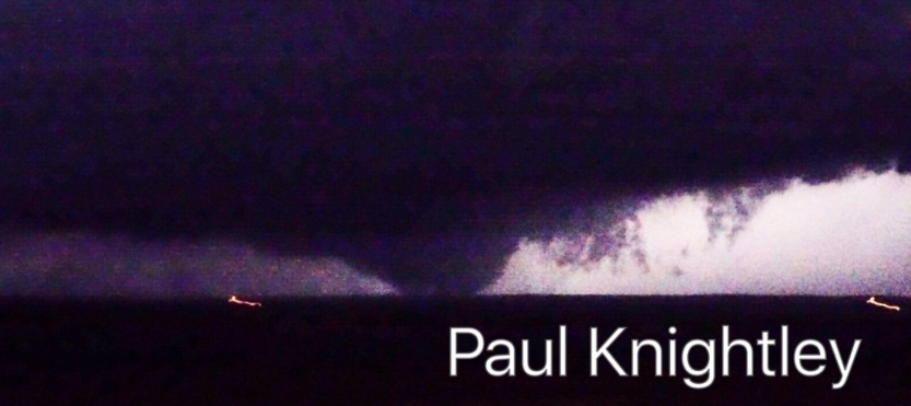 Tornado observed near Turkey, Texas, after sunset on the evening of 23 May 2016. The image is coutesy of Paul Knightley.