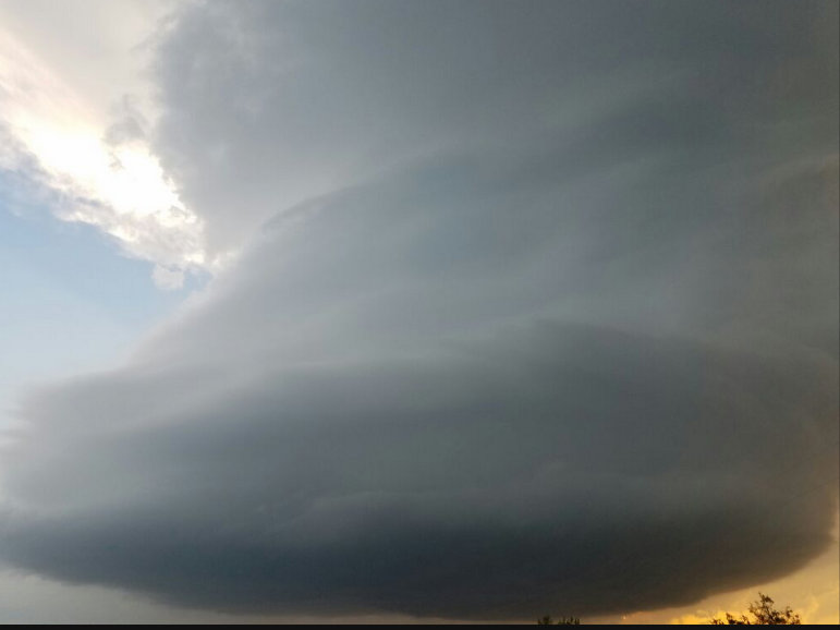 Supercell storm observed near Turkey, Texas, during the evening of 23 May 2016. The image is courtesy of @BeccMaz.