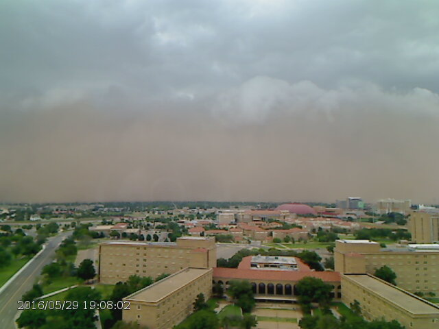 Time series of a haboob as it approached and passed Texas Tech University during the evening of 29 May 2016. The images were captured between 7:02 pm and 7:15 pm and are courtesy of the Texas Tech Atmospheric Science Group.