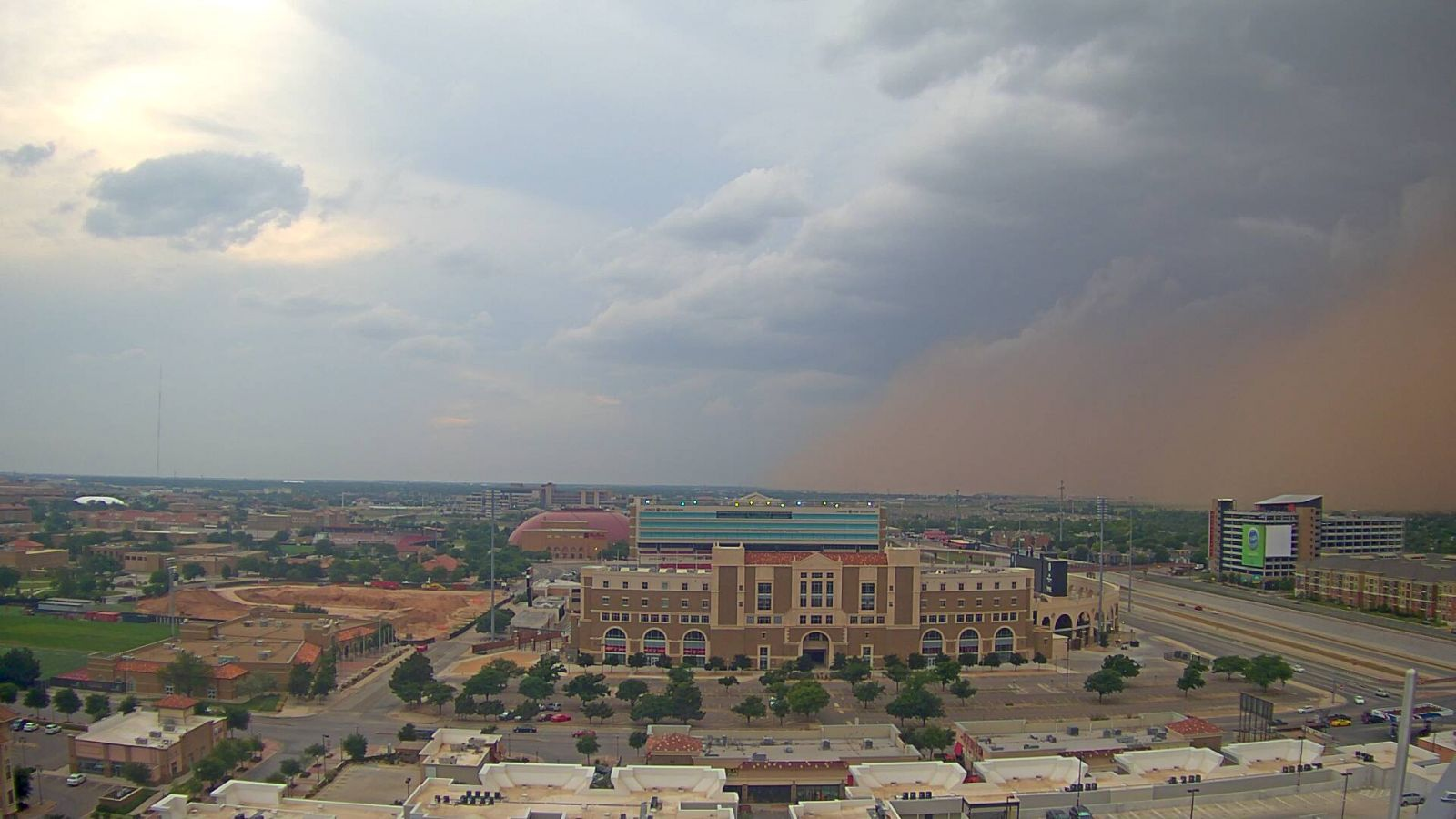 Leading edge of a dusty thunderstorm outflow rolls into north Lubbock during the evening of 29 May 2016. The image is courtesy of KAMC.