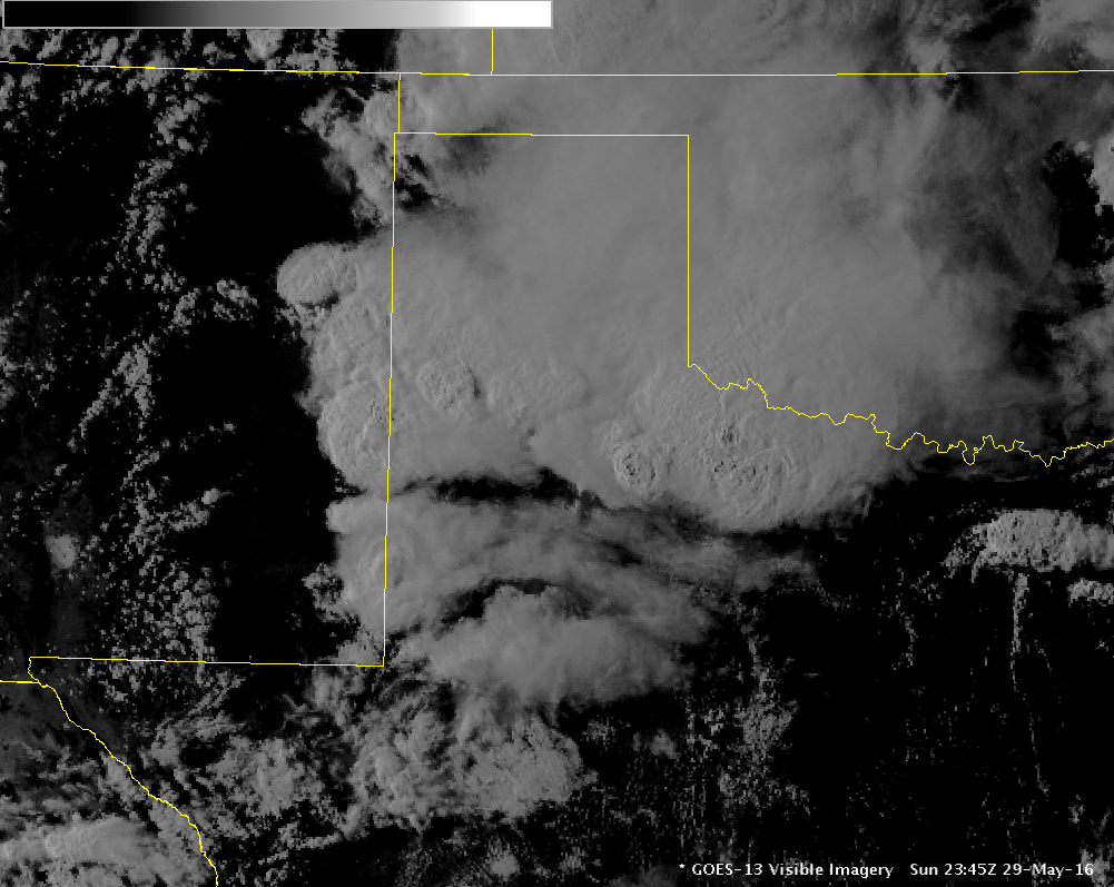 Visible satellite image showing all of the tall thunderstorm clouds over northwest Texas at 6:45 pm on 29 May 2016.