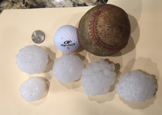 Hail observed 7 miles north of Dimmitt on the evening of 30 May 2016. The picture is courtesy of Rodney Hunter and KVII
